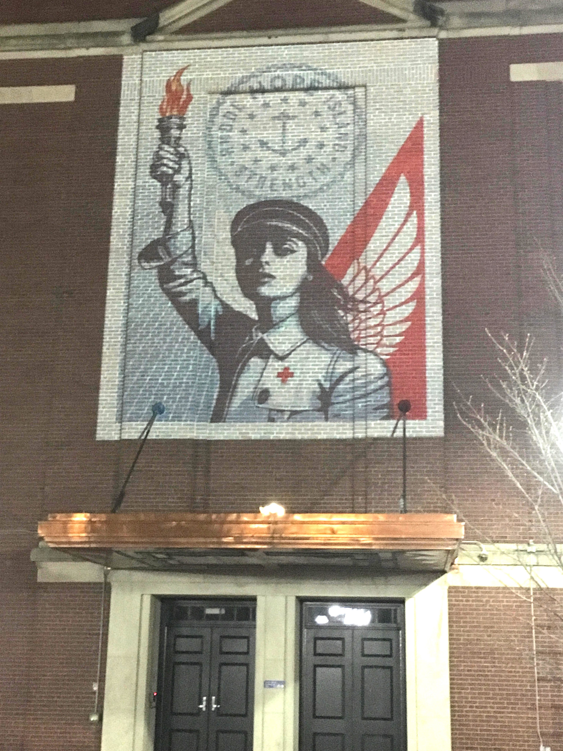 Shepherd Fairey large scale projection up through May1
